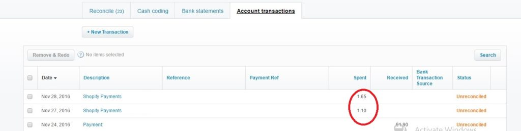 Xero - Account Transactions Window