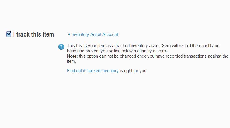 Xero Tracked Inventory