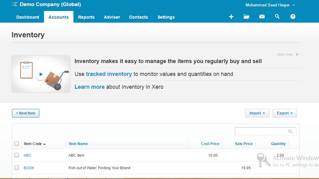 Xero Tracked Inventory - New Item