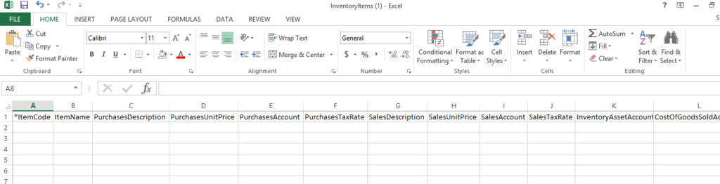 Xero Inventory Item Template