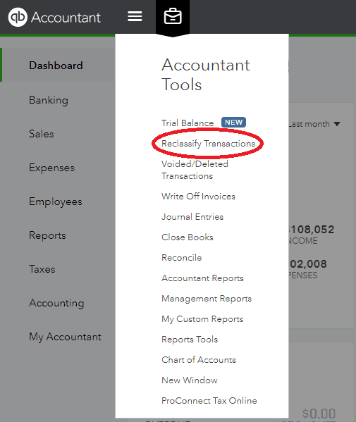 Quickbooks Online - Accountant Tools - Reclassify Transactions
