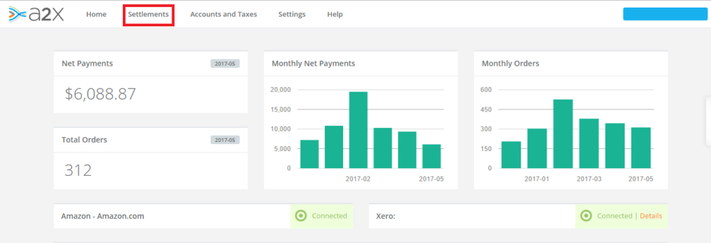 track inventory from A2X to Xero - Settlements