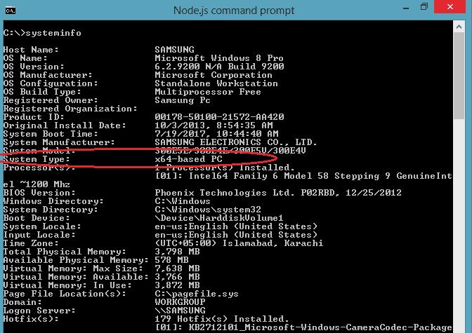 How to install NodeJS on WIndows 8 - 64-bit cmd