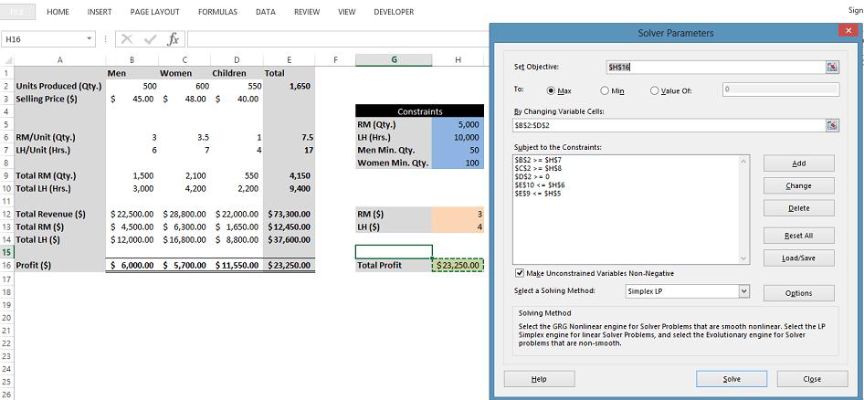 Solver Add in - Add Parameters