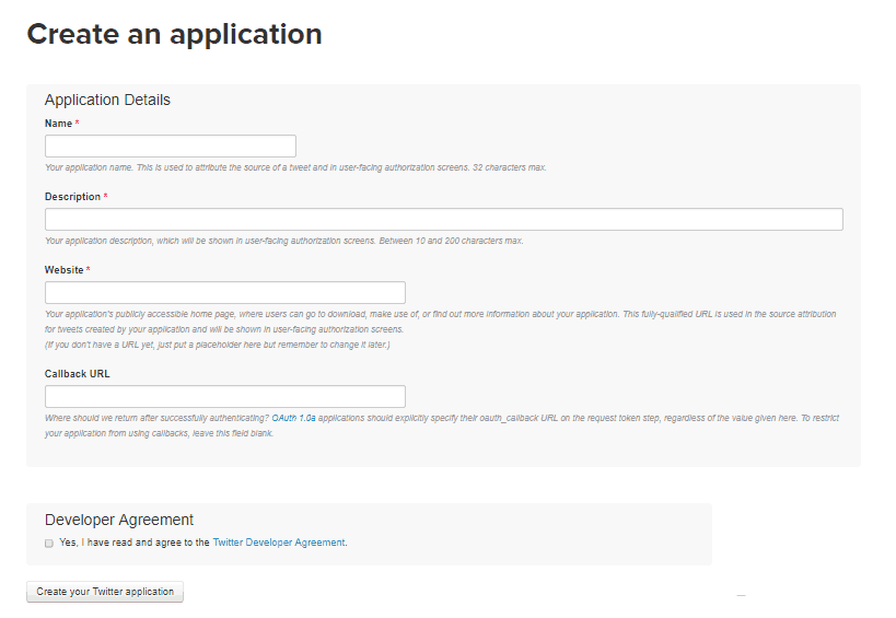 Twitter API Key - Create an Application