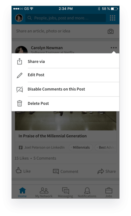 Linkedin New Features - Manage Comments