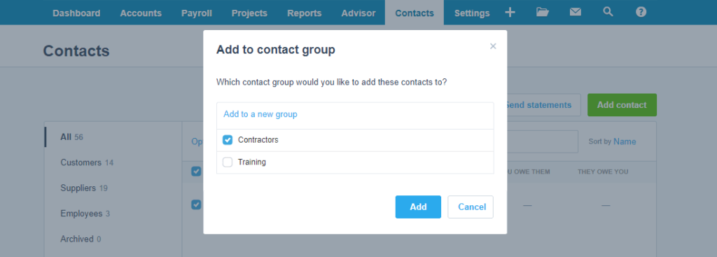 Xero - Add Contact to Group