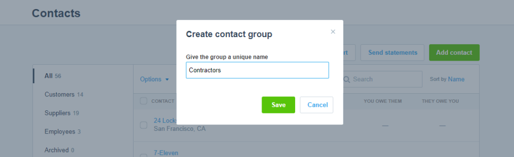 Xero - Create Contact Group Save