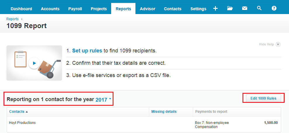 Xero Report Edit 1099 Rules