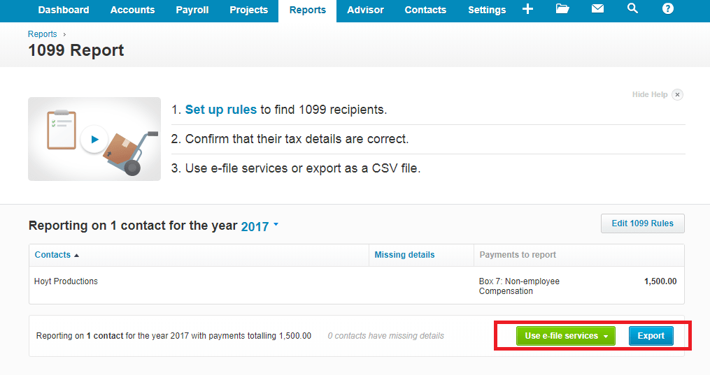Xero Form 1099 Use e-File Service