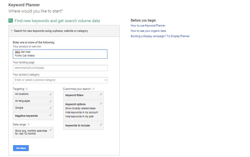 Google Keyword Planner - Enter Keyword - Enter Multiple Keywords