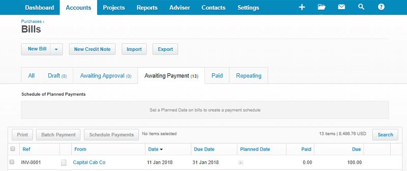Xero Supplier Overpayment - Bills Section