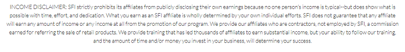 SFIMG - Income disclaimer