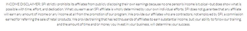 SFIMG - Income disclaimer