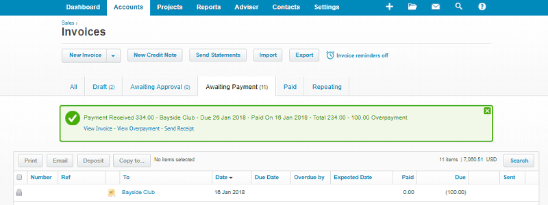 Xero Overpayment Negative Amount