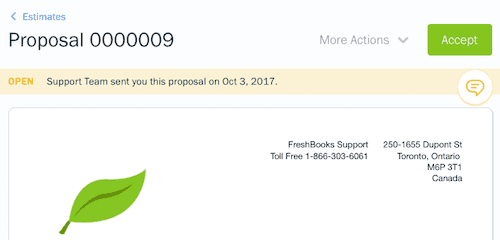 FreshBooks Proposals Accept by Client