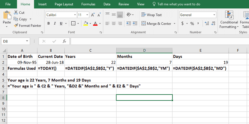 Calculate Age from Date of Birth in Excel using DATEDIF Function