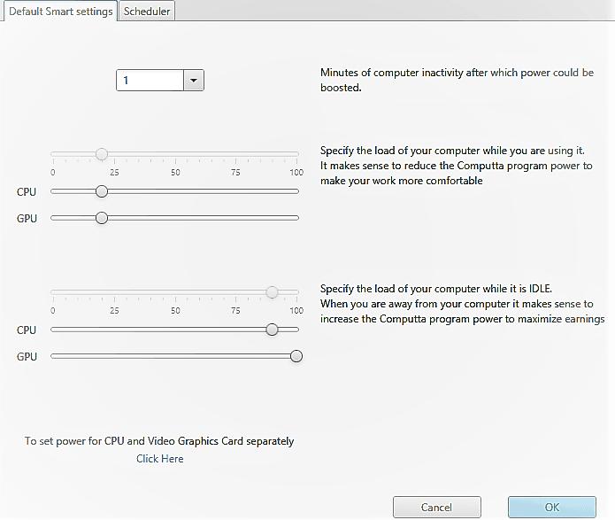 Computta Smart Miner Control Panel Settings