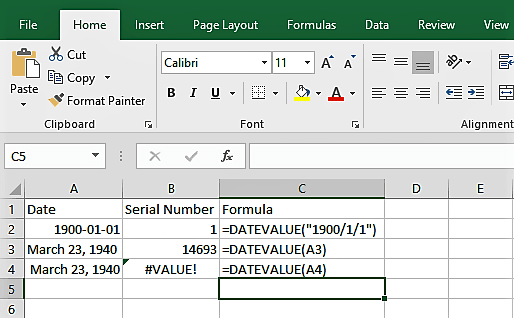 Excel DateValue() Function example