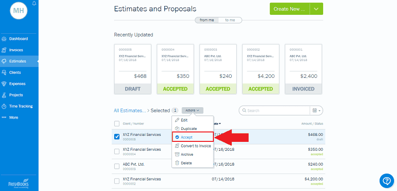 Accept FreshBooks Estimate Manually
