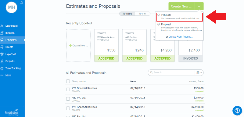 Create new FreshBooks Estimate
