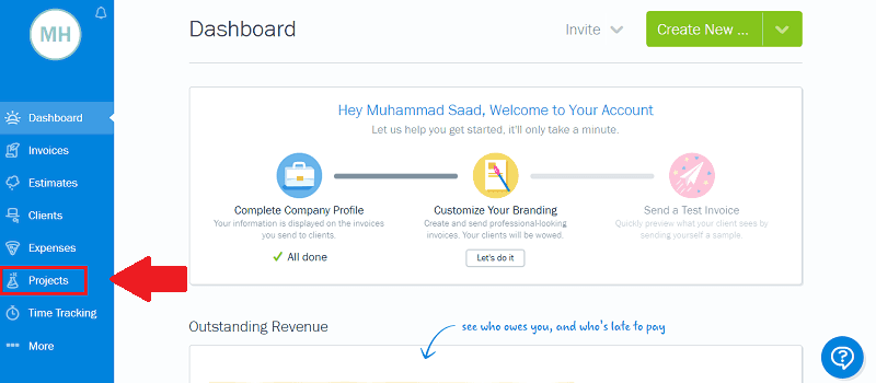 FreshBooks Dashboard Projects