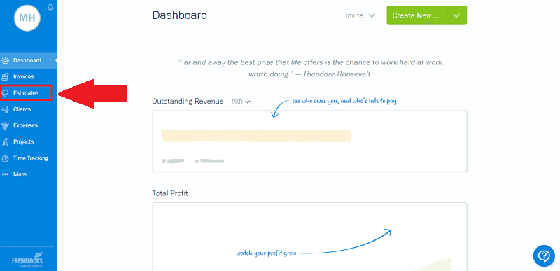 FreshBooks Estimates Dashboard