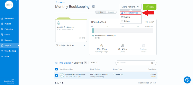 FreshBooks Project Generate Invoice