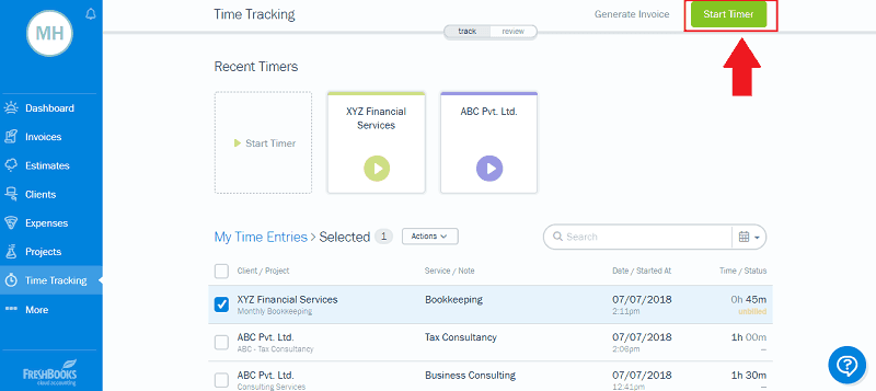 FreshBooks Start Automatic Time Tracking