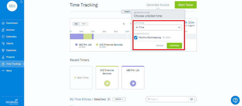 FreshBooks Time Tracking Select Date Range