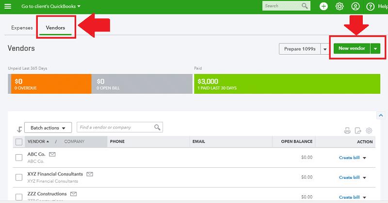 QBO Create New Vendor