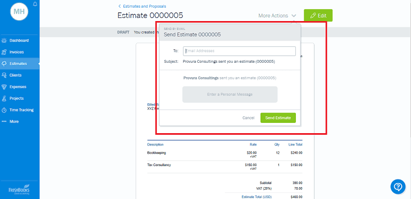 Send FreshBooks Estimate to Client