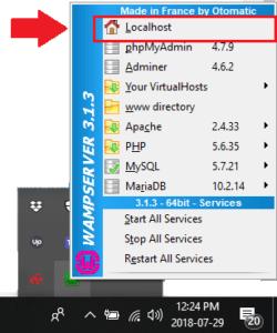 WAMP Server Icon tray local host