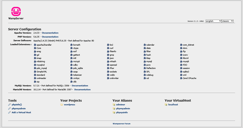 WAMP Server Localhost Dashboard
