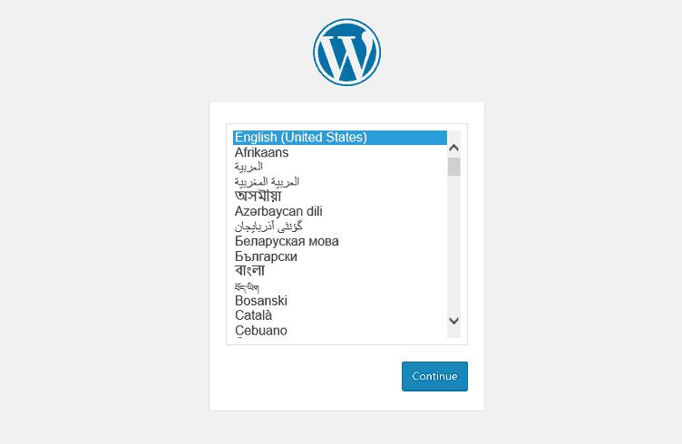 Wordpress Configuration Select Language
