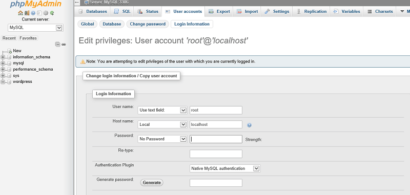 Wordpress Login Information