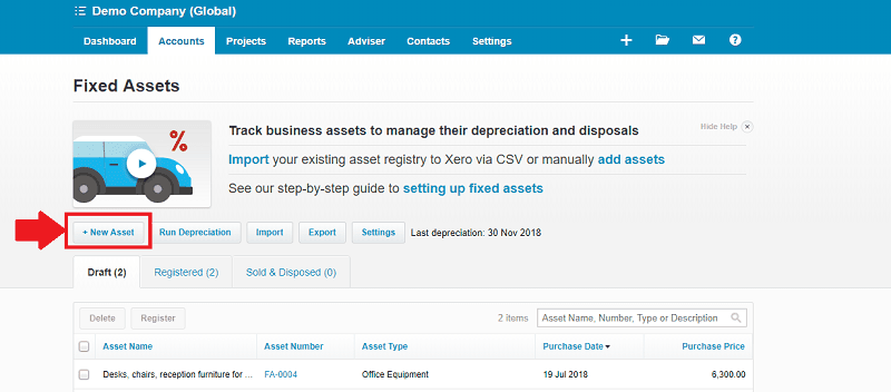 Xero Accounts Fixed Assets