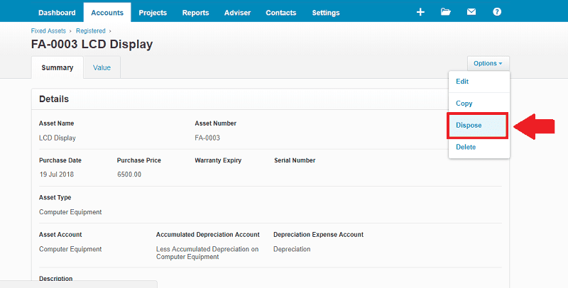 Xero Fixed Asset Disposal option