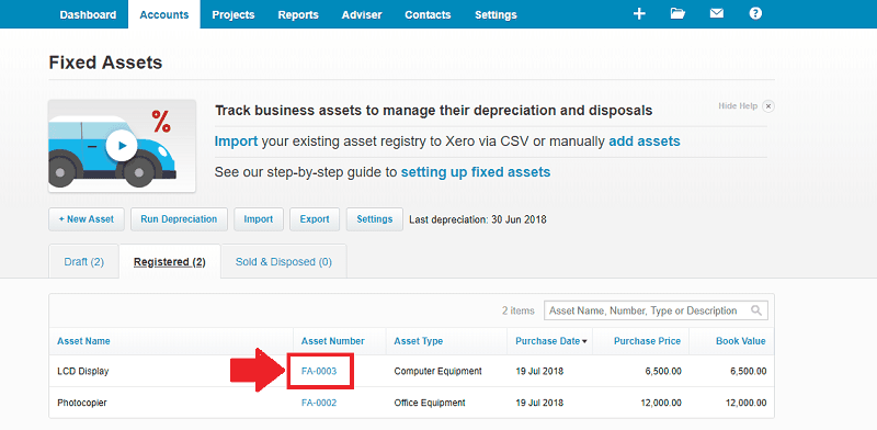Xero Registered Fixed Asset Number