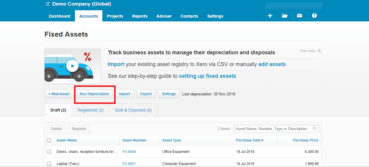 Xero Run Depreciation