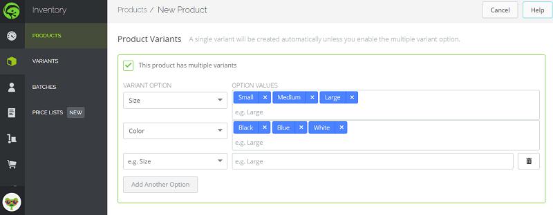 Add TradeGecko Variants