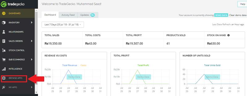 TradeGecko Dashboard Browse Apps