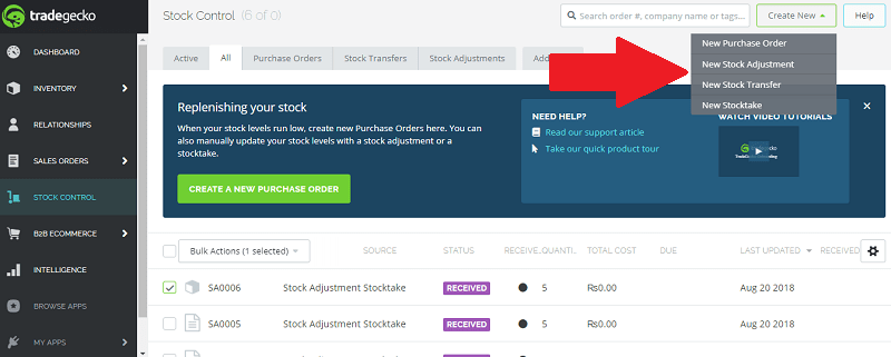 TradeGecko Create New Stock Adjustment