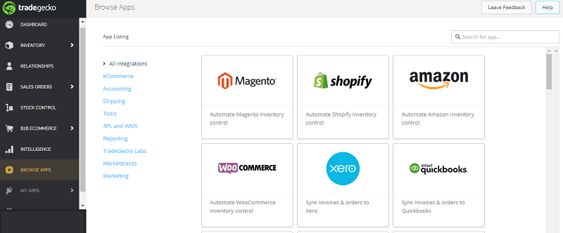 TradeGecko Integration Find your App
