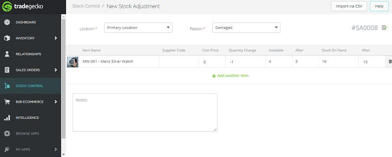 TradeGecko New Stock Adjustment