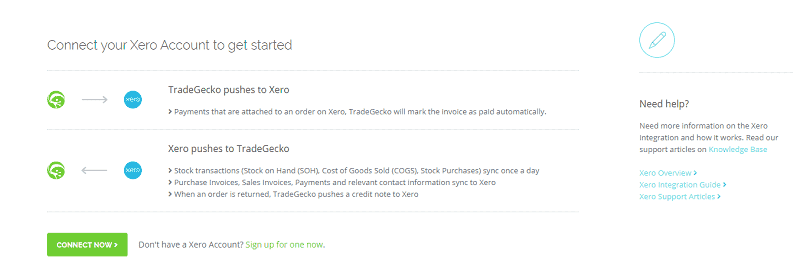 TradeGecko Xero Connect Now