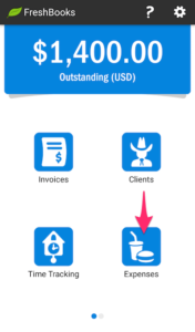 Android FreshBooks Main expense tab