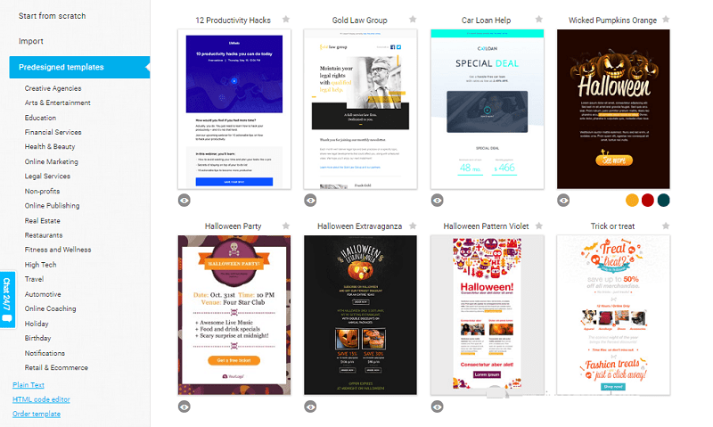 GetResponse Choose Newsletter Template