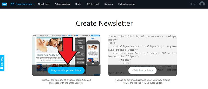 Getresponse Drag and Drop Editor