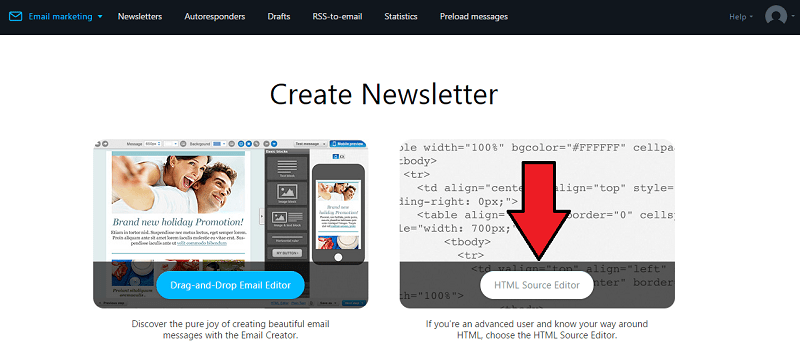 Getresponse HTML Source Editor